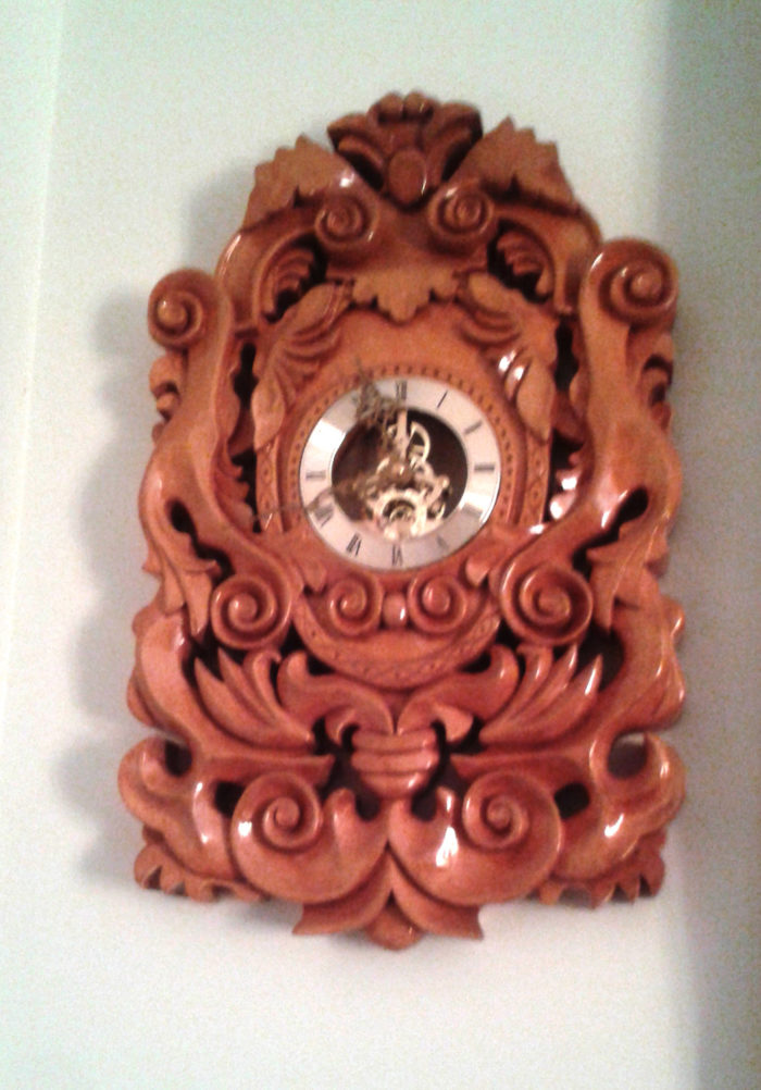 Custom made and carved wall clock