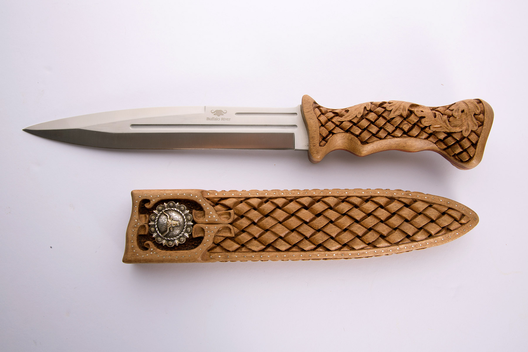 Custom made and carved knife handle and sheath (open view)