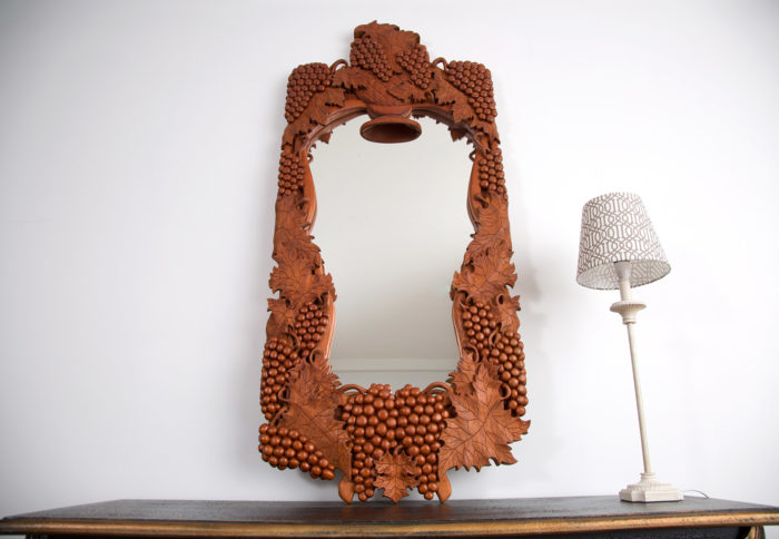 Custom made and carved mirror frame with grapes