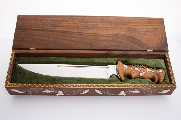 Carved knife box and handle