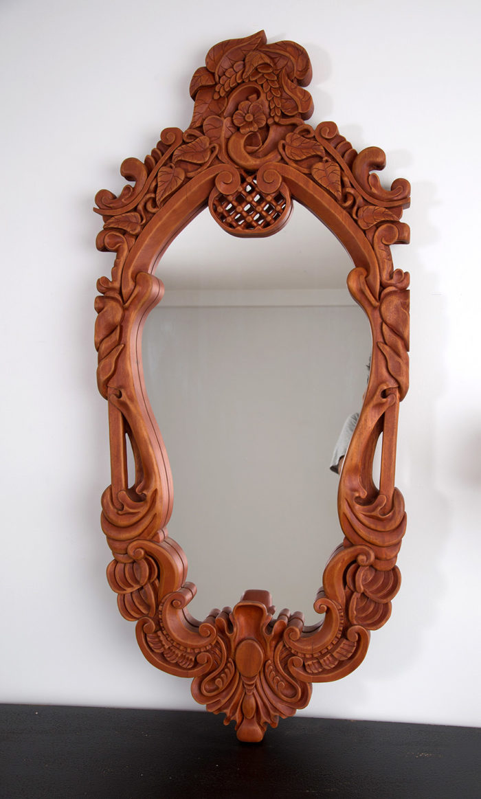 Custom made and carved mirror frame (front)